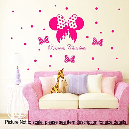 Disney Minnie Mouse Bow Head Removable Vinyl Wall Stickers Personalized Name Castle Decal Home Decor