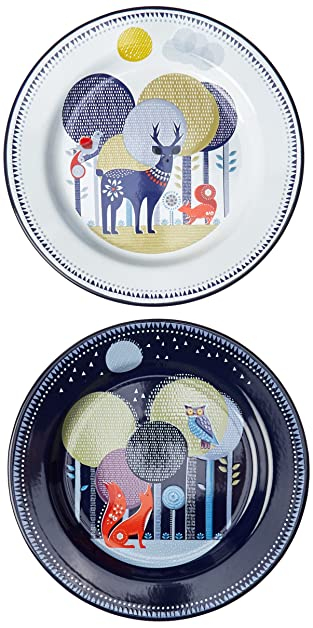 Wild And Wolf Folklore Day Night Enamel Plates Set Of 2 Carvan Camping