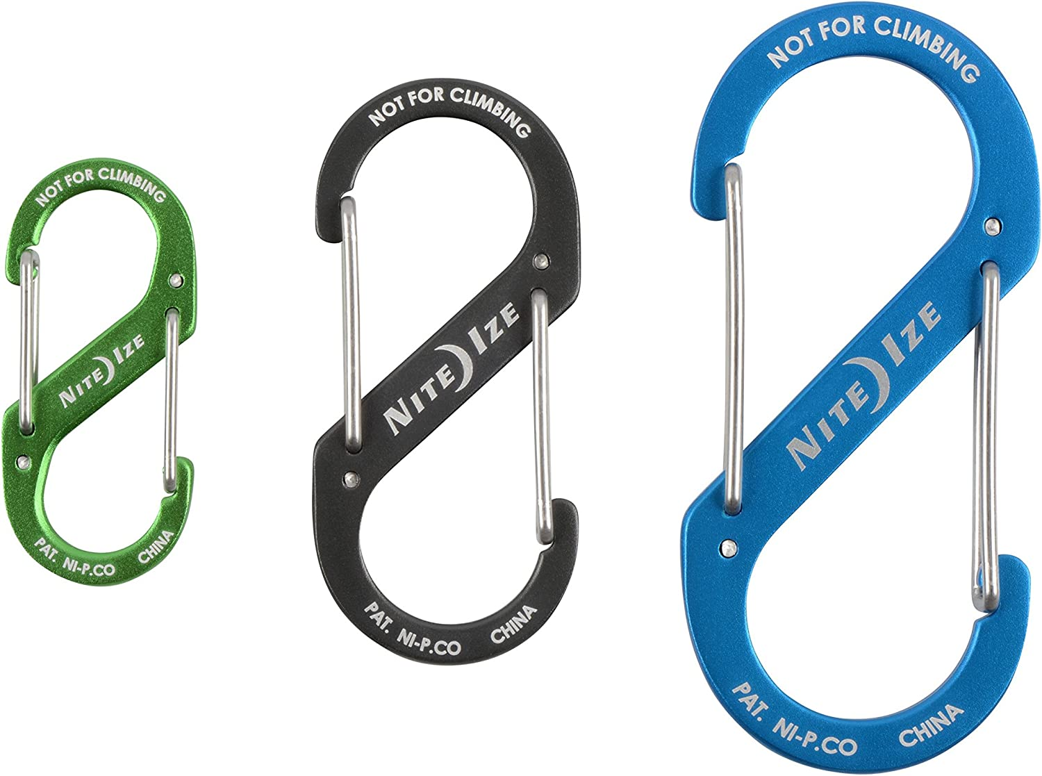 Assorted 3-Pack Black Nite Ize S-Biner Dual Carabiners Stainless-Steel 3 Sizes 2 4