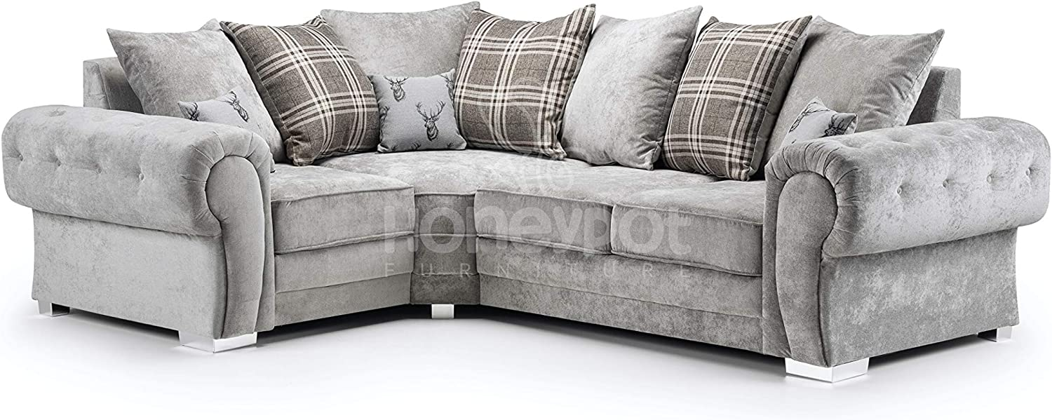 Honeypot Verona Grey Fabric Corner Sofa 3 Seater 2 Seater Armchair Footstool Sofabed Grey Amazon Co Uk Kitchen Home