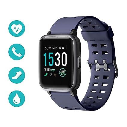 Huyeta Smartwatch Reloj Inteligente 5ATM Impermeable Pulsera Actividad Inteligente Reloj Deportivo con Pantalla Táctil Completa Pulsómetro Cronómetros ...