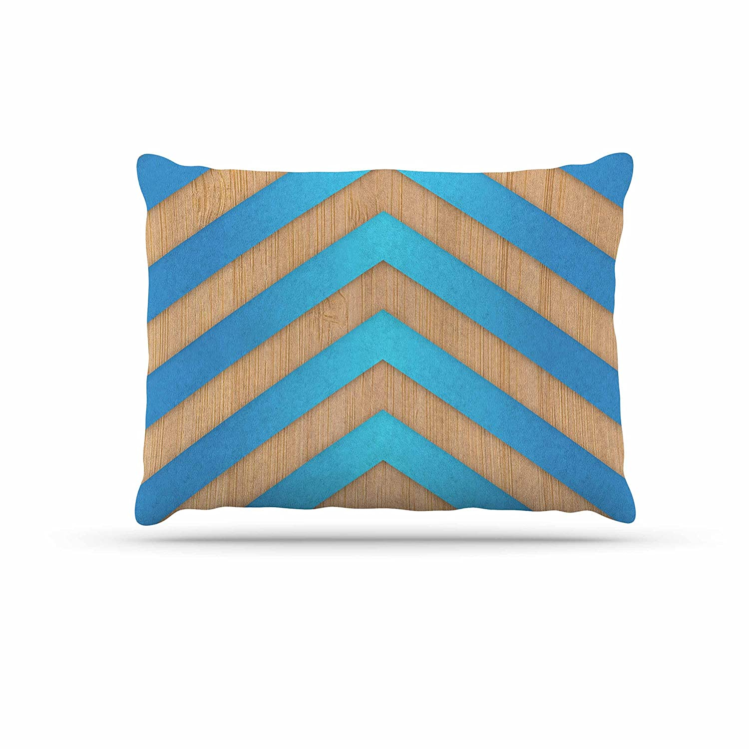 KESS InHouse Marta Olga Klara Turquoise Chevron bluee Brown Dog Bed, 30  x 40