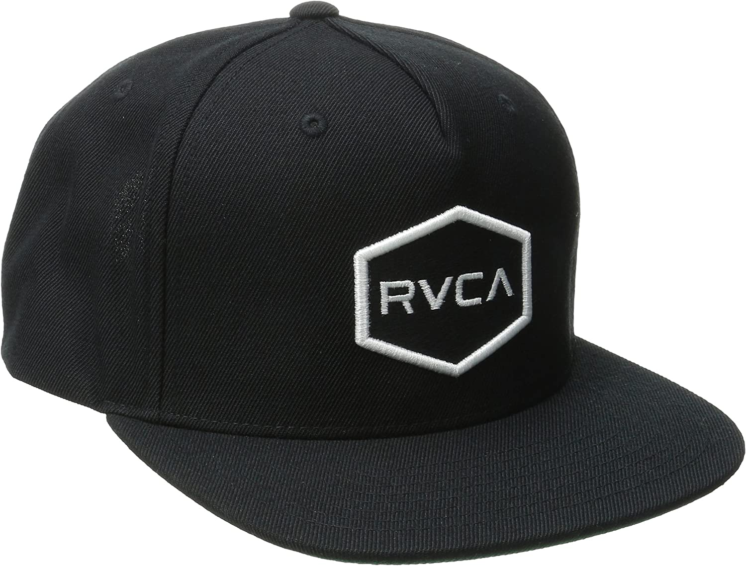 RVCA Commonwealth Snapback Hat Black 1SZ: Clothing