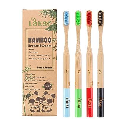 Cepillo de dientes de bambú de madera natural de LAKSI – Pack de 4 cepillos de