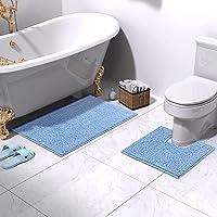 Bathroom Rugs and Mats Set, 2 Piece Chenille Bath Rug Mat Contour Set, Machine Wash Dry, Non Slip Absorbent Shaggy Bath…