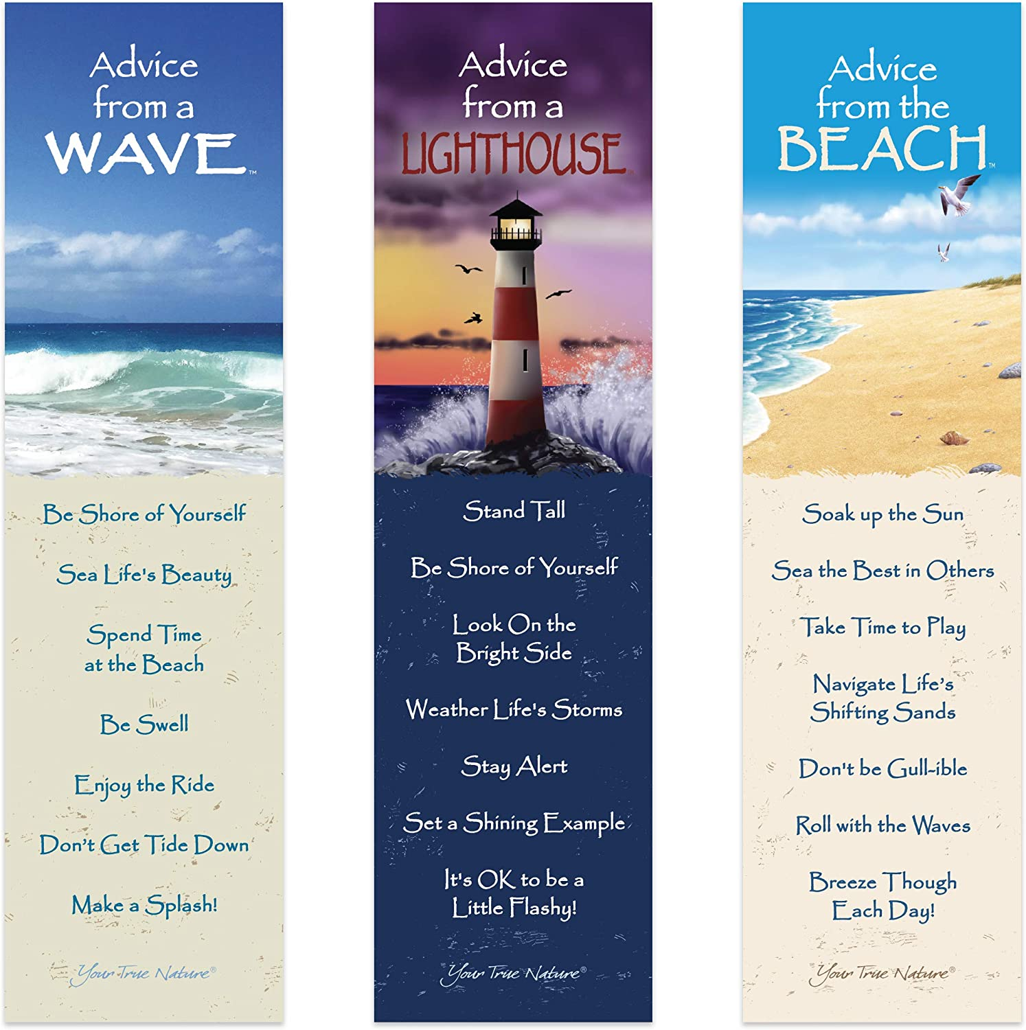 Advice from Nature 3 Bookmark Coastal Set - Wave, Lighthouse, Beach by Your True Nature