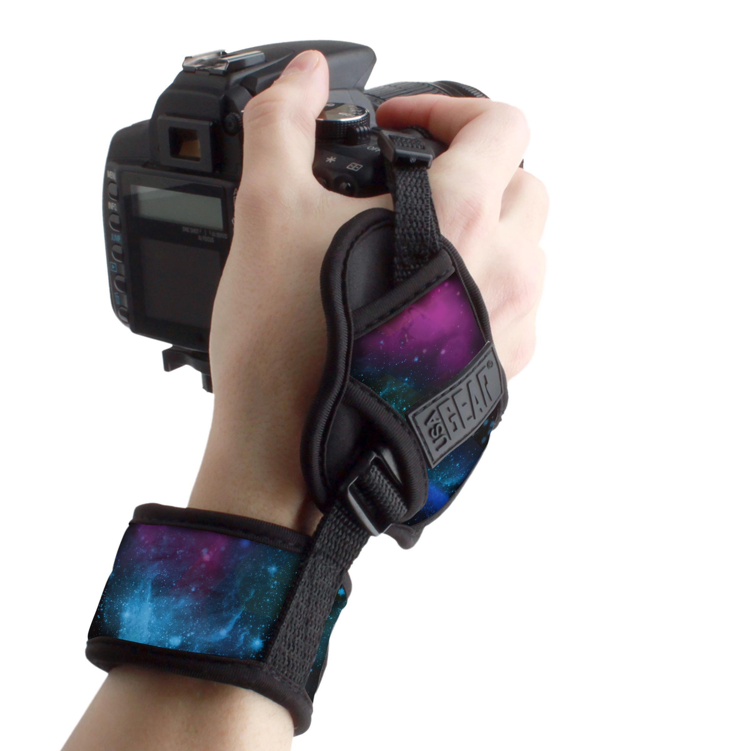 Professional Camera Grip Hand Strap with Galaxy Padded Neoprene Design and Metal Plate by USA Gear - Works with Canon, Fujifilm, Nikon, Sony and More DSLR, Mirrorless, Point & Shoot Cameras