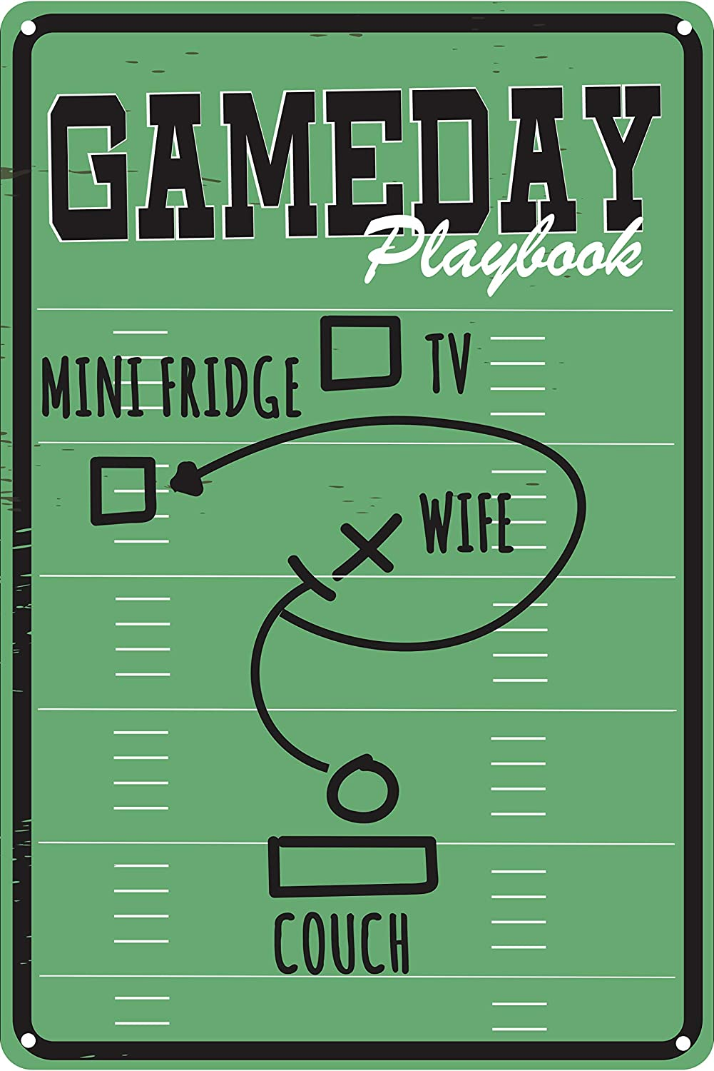 "Toothsome Studios Gameday Playbook 12"" x 8"" Funny Tin Sign Football Theme Man Cave Sports Bar Home Decor"