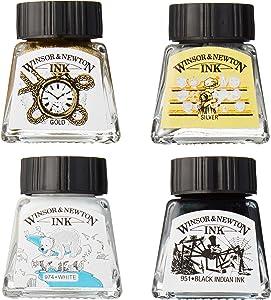 Winsor & Newton Collection Drawing Ink Set, Black, White, Metallic