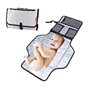 Obecome Baby Changing Pad,Portable Diaper Changing Pad with Head Pillow,Waterproof Foldable Baby Travel Changing Mat Station for Toddlers Infants and Newborns