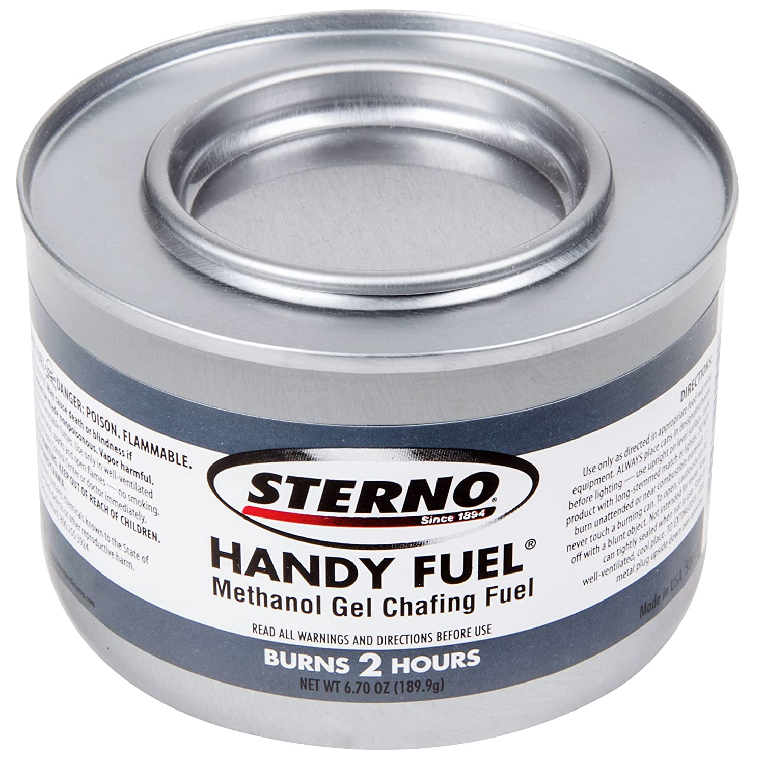 Sterno 6PK Products 20102 2 Hour Handy Methanol Gel Chafing Fuel 6.7oz 6/Pack, BLUE