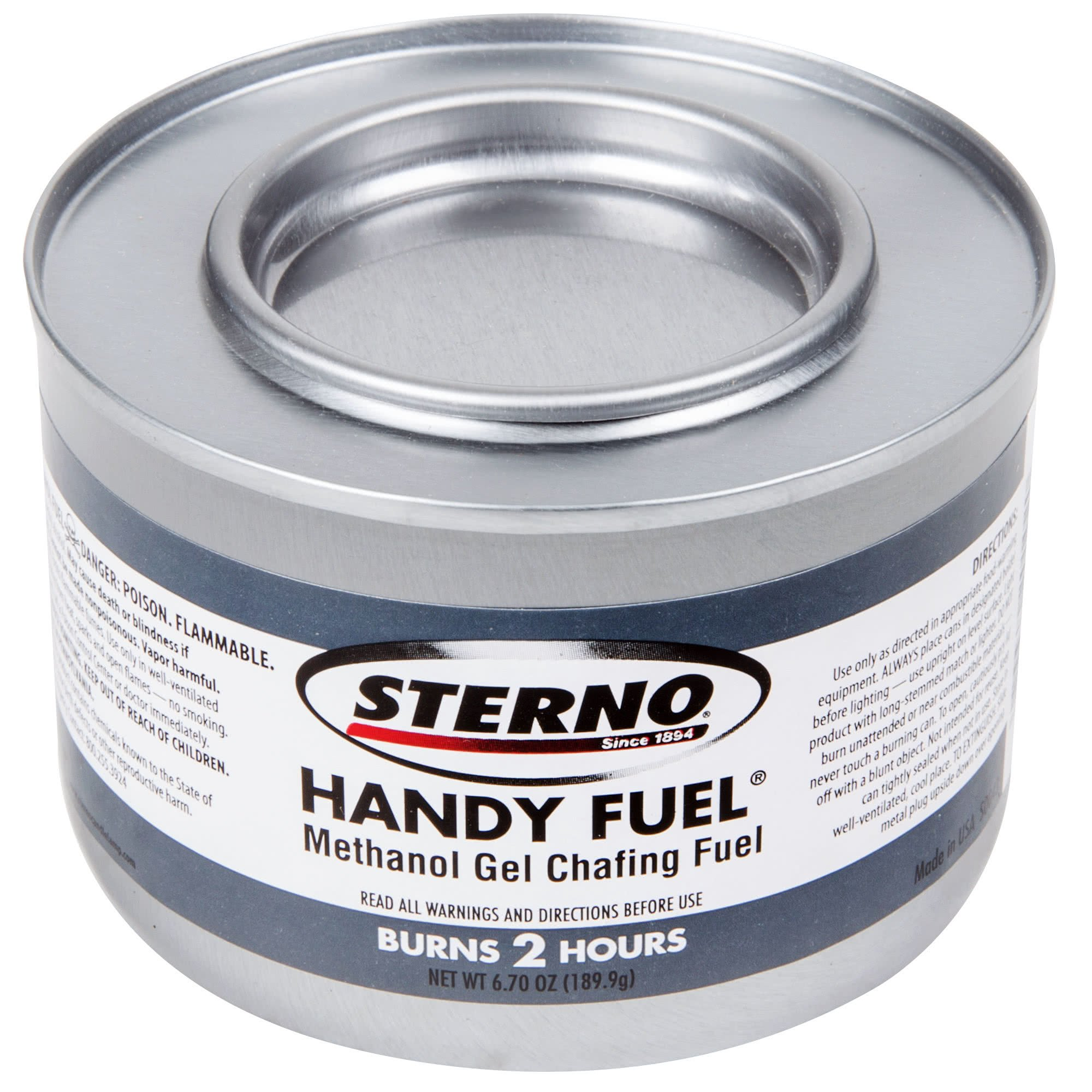 Sterno 6PK Products 20102 2 Hour Handy Methanol Gel Chafing Fuel 6.7oz 6/Pack, BLUE by Sterno