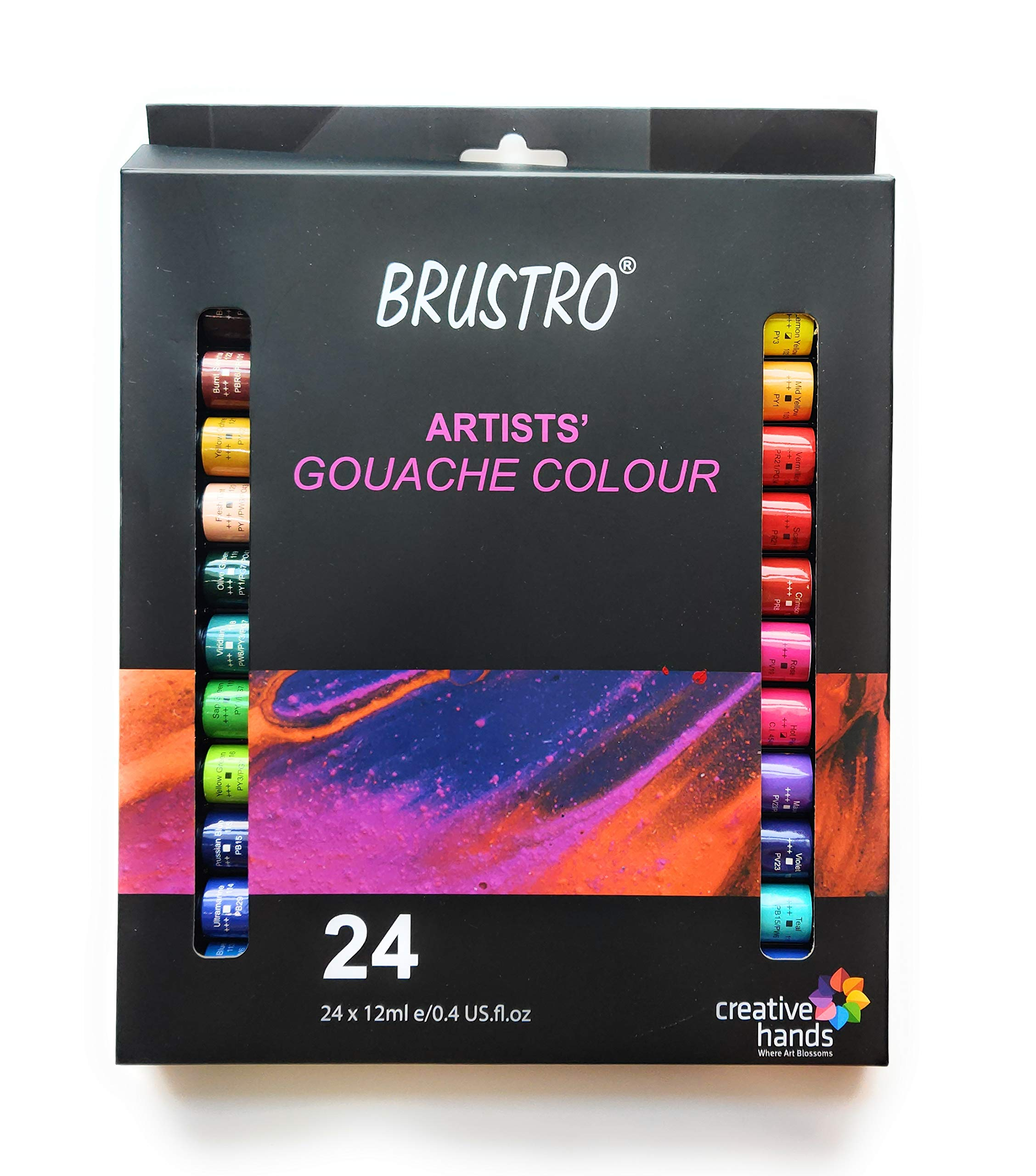 Brustro Artists Gouache Colour Set of 24 Colours X 12ML Tubes.