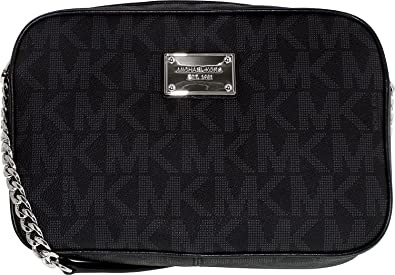 Michael Kors Women's Jet Set Crossbody Leather Bag, BLACK, Large ...