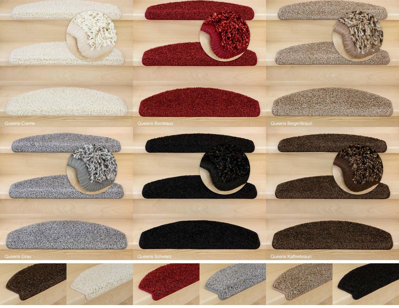 Kettelservice-Metzker® Stufenmatten, Treppen-Teppich Shaggy Queens halbrund, inkl. Fleckentferner, Schwarz 12 Stück
