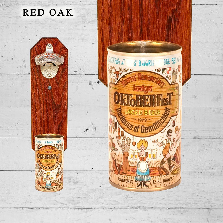 Wall Mounted Bottle Opener with Vintage Hans Oktoberfest Beer Can Cap Catcher