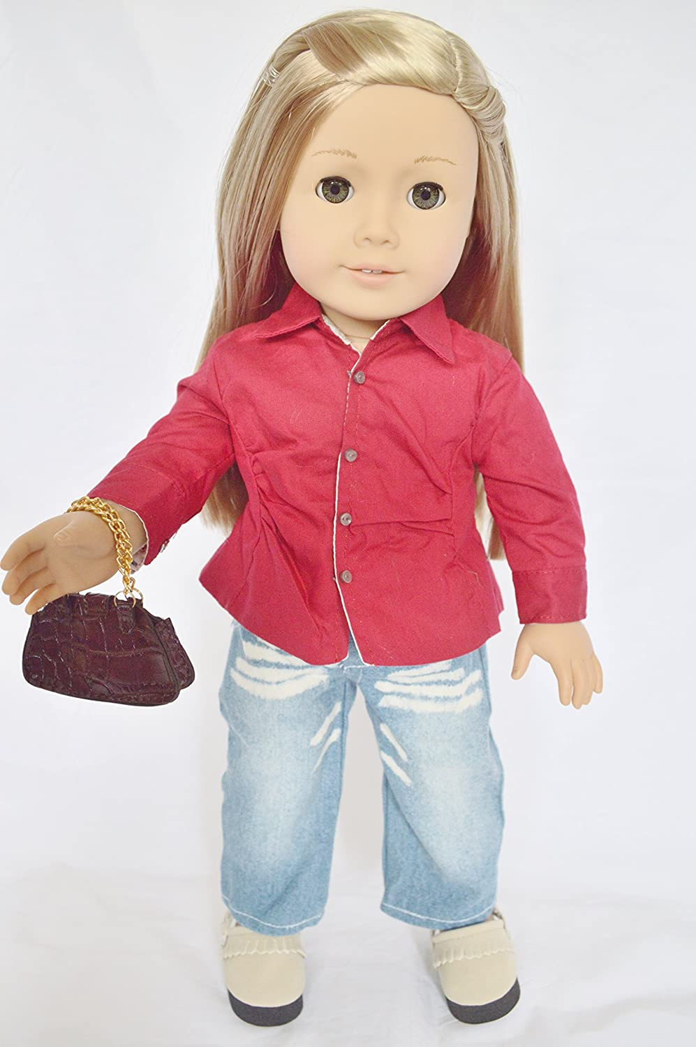 CASUAL OUTFIT WITH PURSE AND SHOES FOR AMERICAN GIRL DOLLS AND MAPLELEA DollsHobbiesNmore