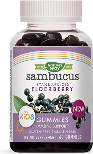Nature s Way Sambucus Elderberry Kid s Gummies Herbal Supplements, 60 Count Black Elderberry Vitamin C Zinc
