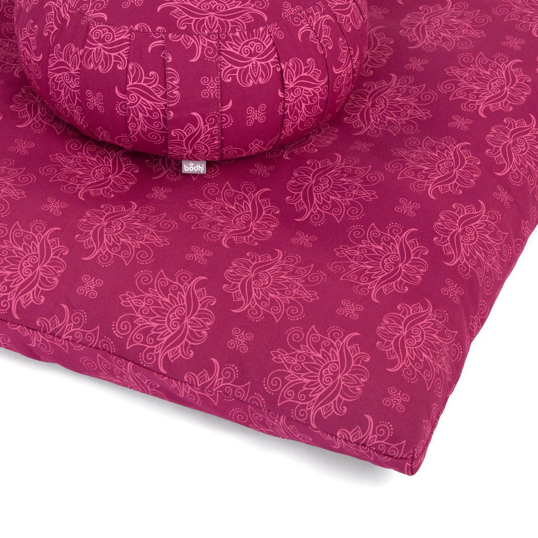 Meditationskissen ZAFU Dinkel und Meditationsmatte ZABUTON Berry//Rose BODHI Medi-Set II Maharaja Collection Lotus bestehend aus
