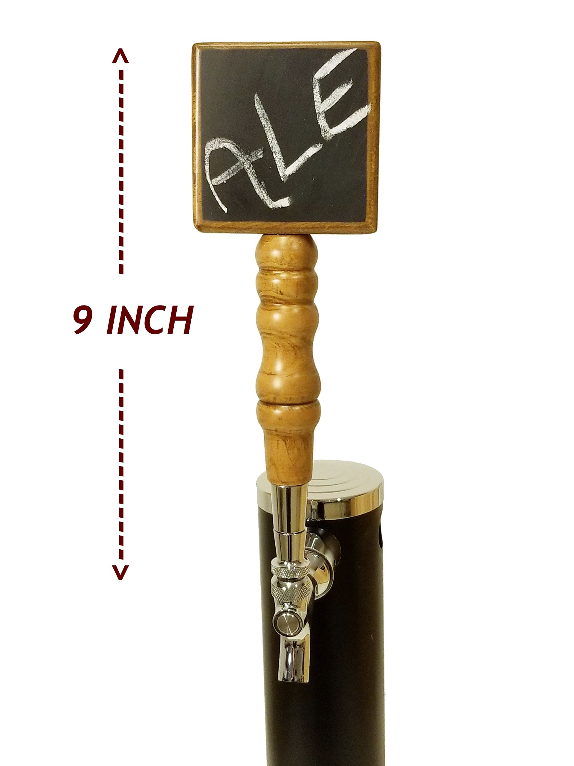 CHALKBOARD BEER TAP HANDLE - NATURAL PREMIUM BEECH AND SCHIMA SUPERBA WOOD (CHERRY STAIN) - EXTRA-LONG 9-INCH BEER FAUCET HANDLE FOR BEER TOWER TAPS - BEERGON (1-PACK) by BEERGON (Image #2)