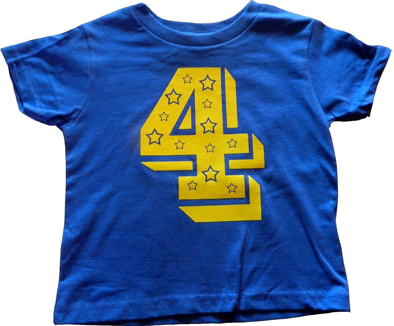 Custom Kingdom Boys 4 Number Four Superstar 4th Birthday T-Shirt
