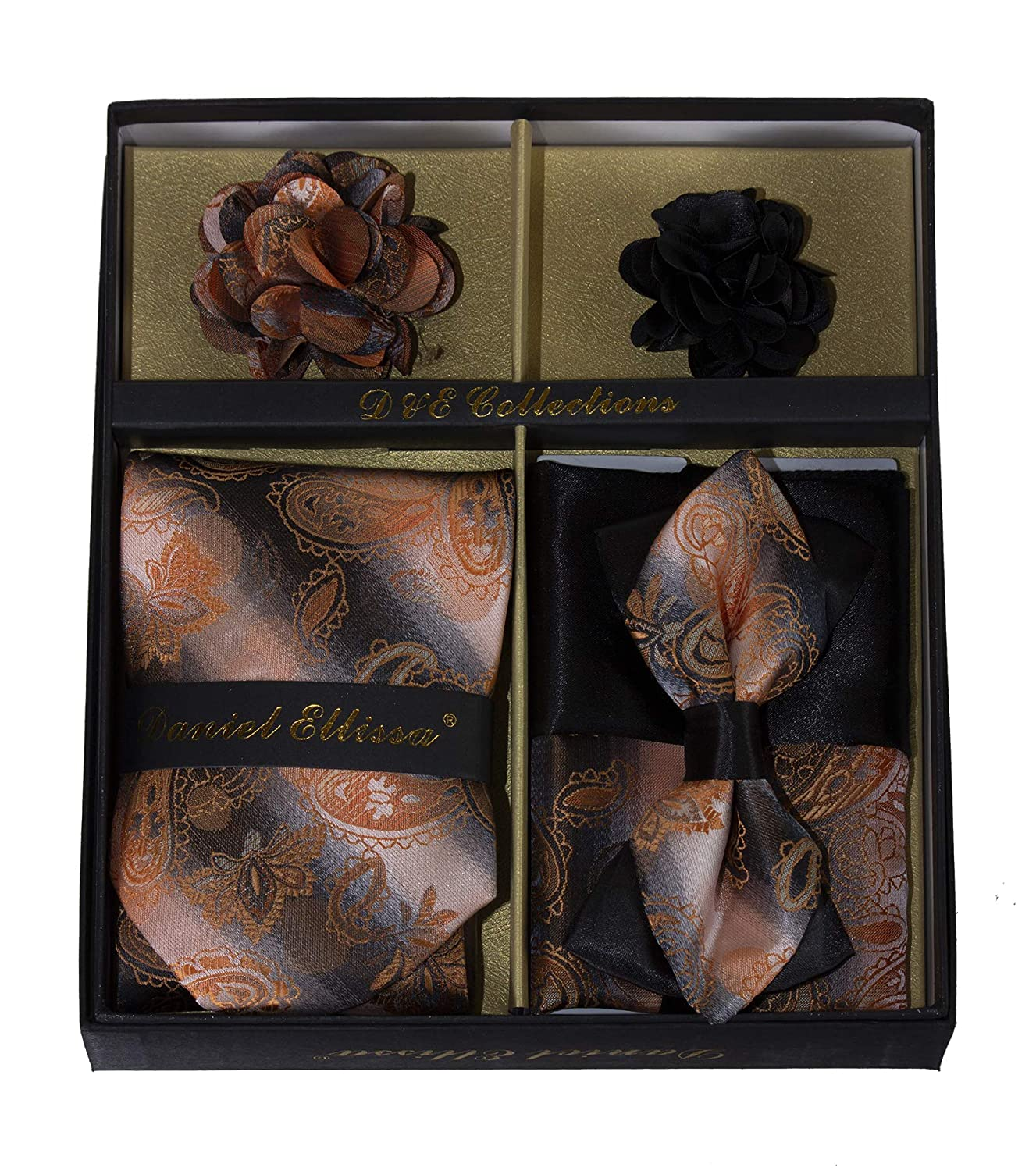 Men/'s Neck Tie Bow Tie Pocket Squares and Lapel Pins in Gift Box Pocket Square /& Lapel Pin in Gift Box TG-DECOLL-128GLDBLKPAS