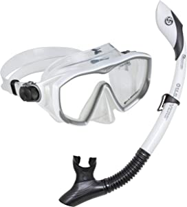 U.S. Divers Diva 1 Lx/Island Dry Adult Silicone Mask Combo, White; Now with New and Improved Snorkel Clip