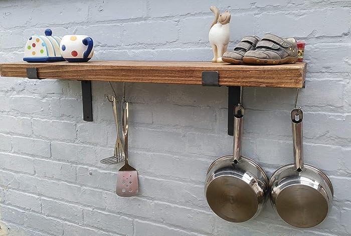 Kitchen Shelves Pan Rack Shelf Complete With Pan Hanging Rod