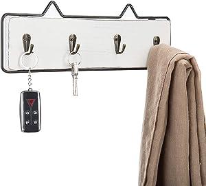 MyGift Wall-Mounted Vintage White Wood Key Hook Rack with Black Metal Frame