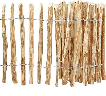 5m Staketenzaun mit Holzpflock Rollzaun Holzzaun Lattenzaun Haselnusszaun