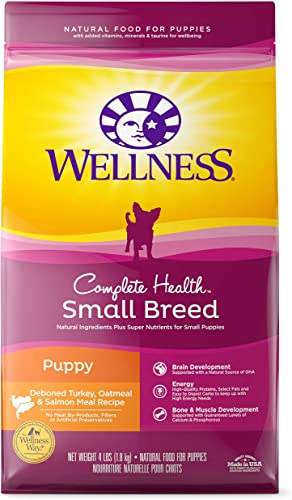 Wellness Complete Health Natural Dry Small Breed Puppy Food, Turkey, Salmon Oatmeal, 4-Pound Bag