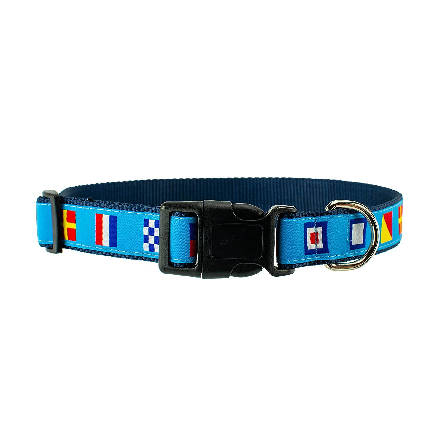 Large 18\ DOG & COMPANY Nautical Flags Pattern 1  Wide Heavy Duty Adjustable Pet Collar (Large)