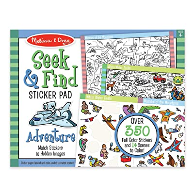 Melissa & Doug Seek & Find Sticker Pad - Adventure (400+ Stickers, 14 Scenes to Color), Multicolor: Toys & Games