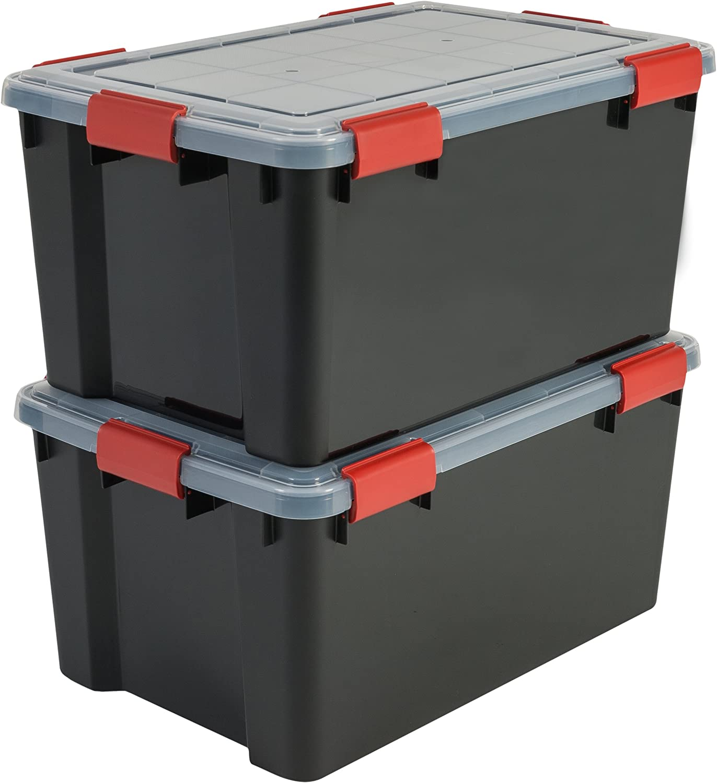 Iris Ohyama, lote de 2 latas herméticas de almacenamiento - Air Tight Box - AT-L, plástico, negro / transparente 50 L, 59 x 39 x 29 cm