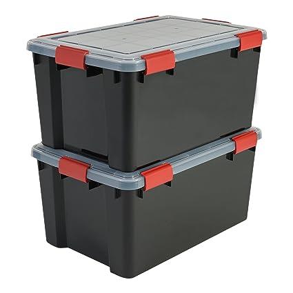 Iris Ohyama 137063 AT-L Set de 2 cajas de almacenamiento hermético plástico negro 59