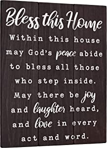 Bless this Home Wall Decor House Blessing Plaque - Housewarming Present for New Home 11x14 Living Room Art or Farmhouse Entryway Sign - Homeowner Gift Rustic Religious Christian Decoration