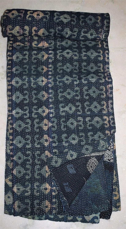 Indian Tribal Kanthaキルトヴィンテージコットンベッドカバー卸売ブランケット B079YLK9WH