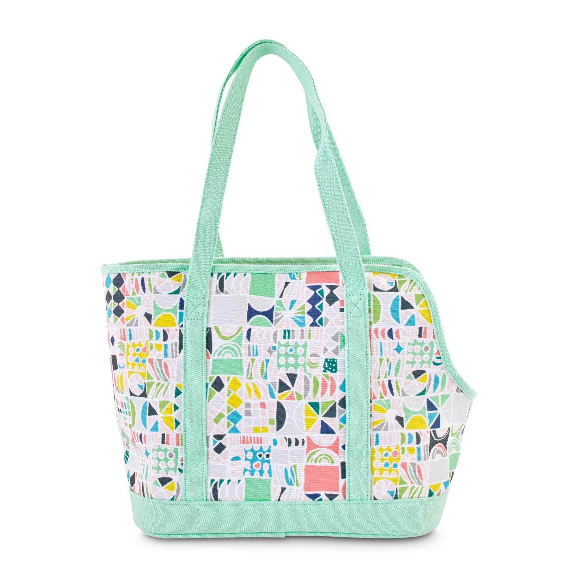 Oh Joy! Oh How Chic! Geometric Mint Pet Tote, 13'' L x 8'' W x 12'' H, Small, Off-White/Green by Oh Joy!