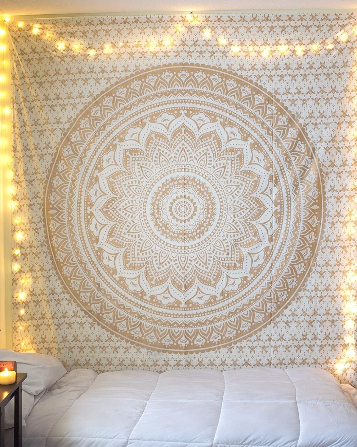 THE ART BOX Large Tapestry Queen Mandala Tapestry Gold and White Tapestries Indian Hippie Wall Hanging, Bohemian Wall Hanging, Bedspread Beach Coverlet Throw Blanket Wall Art Decor