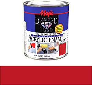 Majic Paints 8-1506-2 Diamond Hard Acrylic Enamel High Gloss Paint, 1- Quart, Safety Red