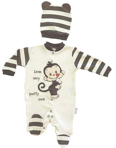 Baby Pelele Mono con gorro y süßem Monos Diseño marrón marrón Talla:56