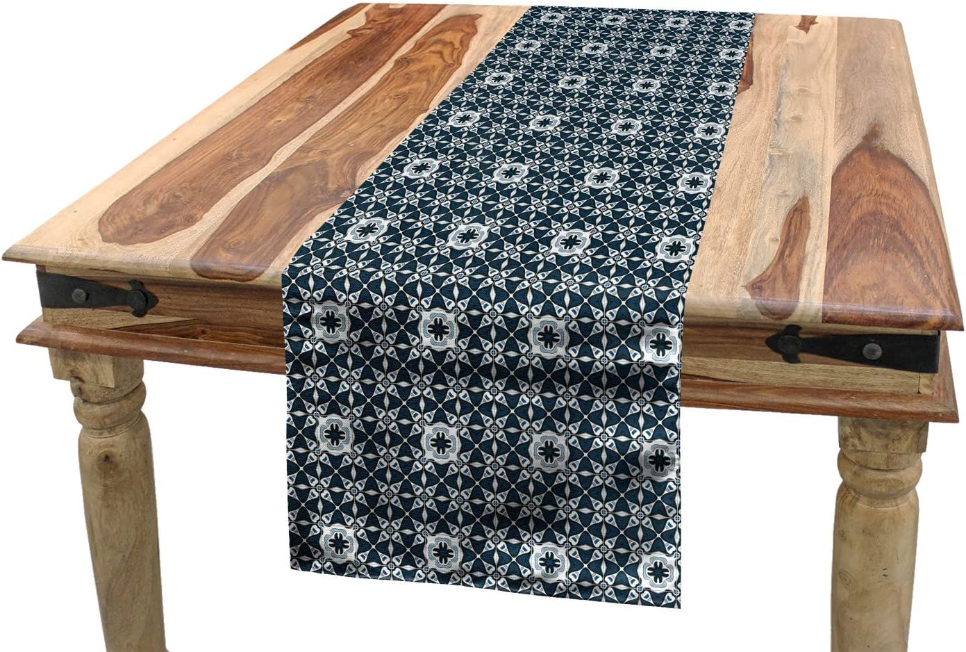 Amazon Com Ambesonne Traditional Table Runner Europe Azulejo Portuguese Mosaic Tiles Folkloric Cultural Heritage Spanish Dining Room Kitchen Rectangular Runner 16 X 72 Dark Blue White Home Kitchen