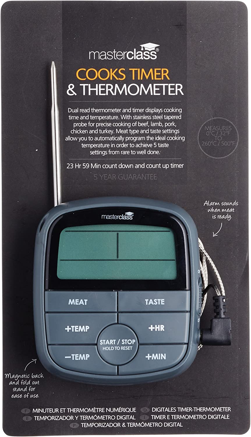 MasterClass Digital Meat Cooking Thermometer with 24-Hour Kitchen Timer