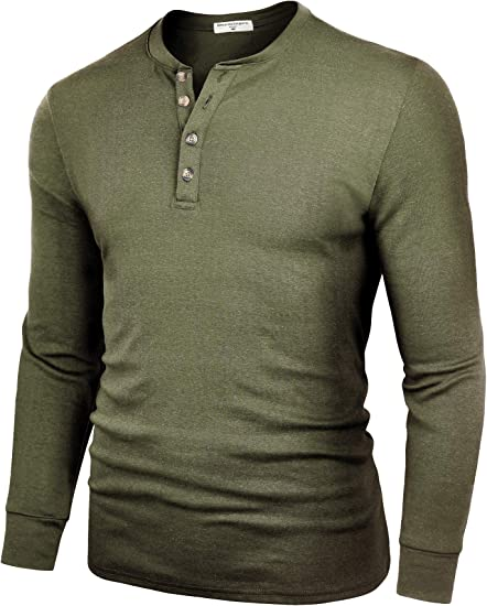 Men/'s Grey Classic Henley Size XXL Cotton Warm Comfortable Button
