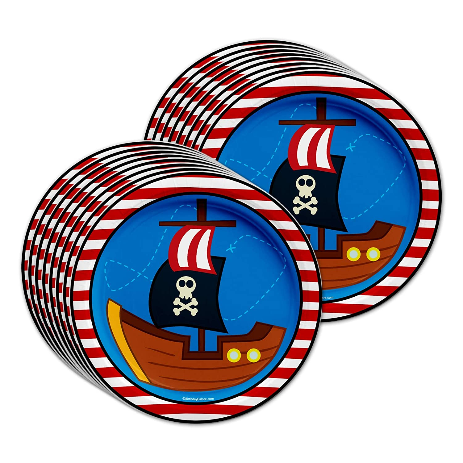 Pirate Ship Birthday Party Supplies Set Plates Napkins Cups Tableware Kit for 16 by Birthday Galore AX-AY-ABHI-105668