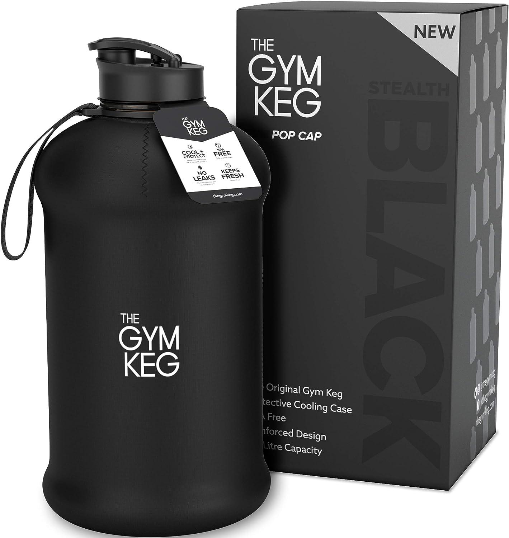 The Gym Keg + Exclusive Sleeve diseño 2018 - Culturismo Botella de Agua para Gimnasio - Botella de Agua Duradera y Resistente de 2.2 litros - BPA Grandes Botellas de Agua para Deportes de Medio galón