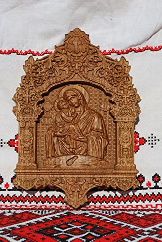 Virgin Mary Of Pochaev Orthodox Icon Religious Birthday Gift For Her Wood Carved Wall Ornament