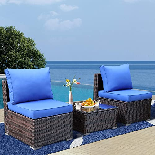 Outime Outdoor Furniture 3-Piece PE Rattan Sofa Conversation Seat Loveseats Patio Couch Brown Wicker Royal Blue Cushion