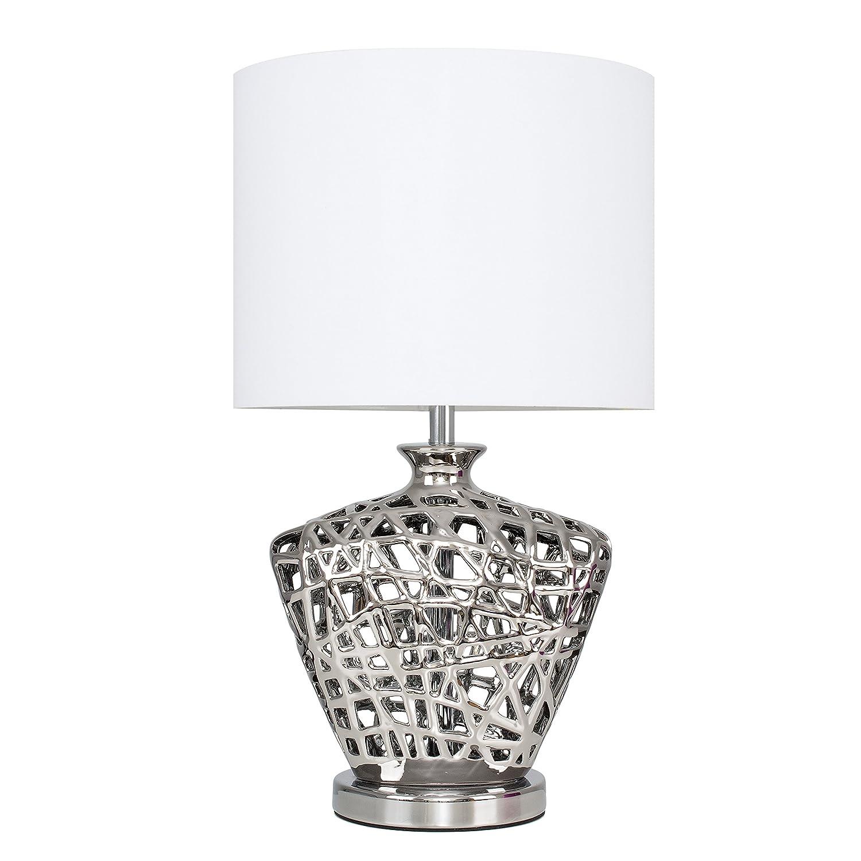 Contemporary Silver Lattice Vase Design Table Lamp Base MiniSun