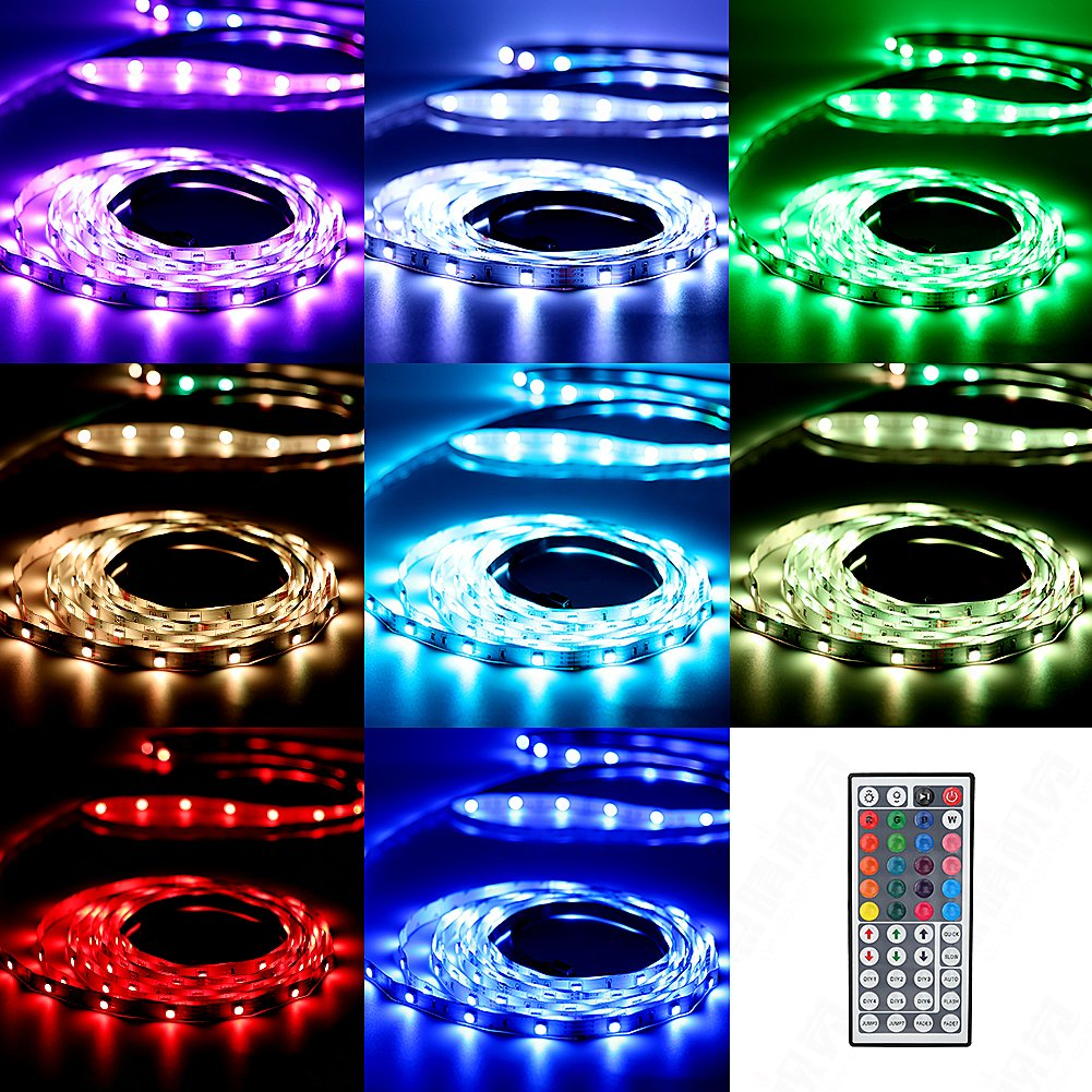 Urlitoy LED Strip Lights 16.4ft/5m 150 Units SMD 5050 LEDs Waterproof Flexible Strip Light RGB Color Changing 44 Key Remote Controller 12V DC Adapter for DIY Home Kitchen Car Bar Party Decoration by Urlitoy (Image #4)